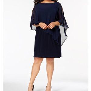 Xscape Beaded Chiffon Navy Blue Dress